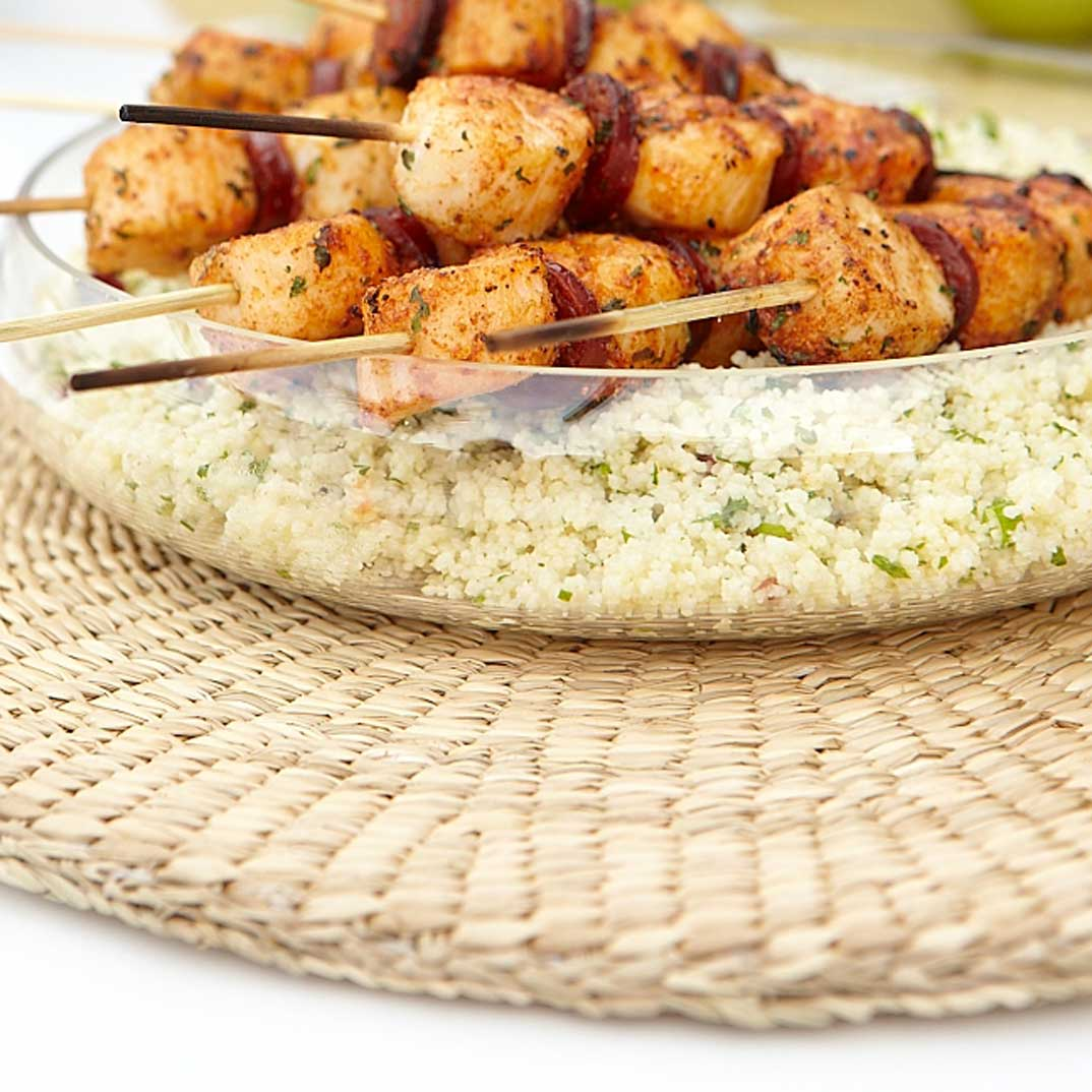 Moroccan-Style Scallop Skewers with Grilled Chorizo