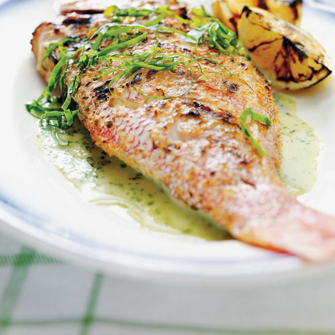 Grilled Red Snapper with Sorrel and Garlic Cream