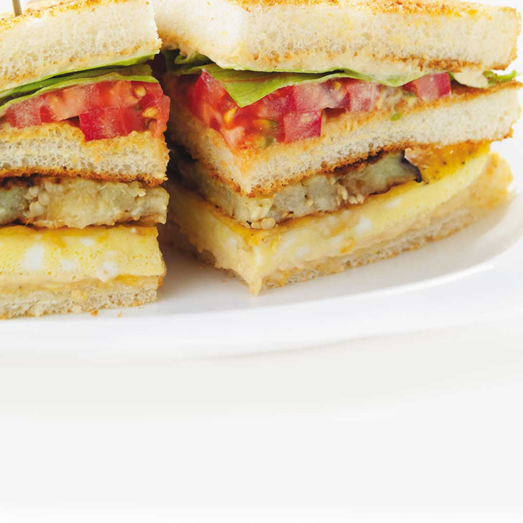 Egg and Eggplant Club Sandwich