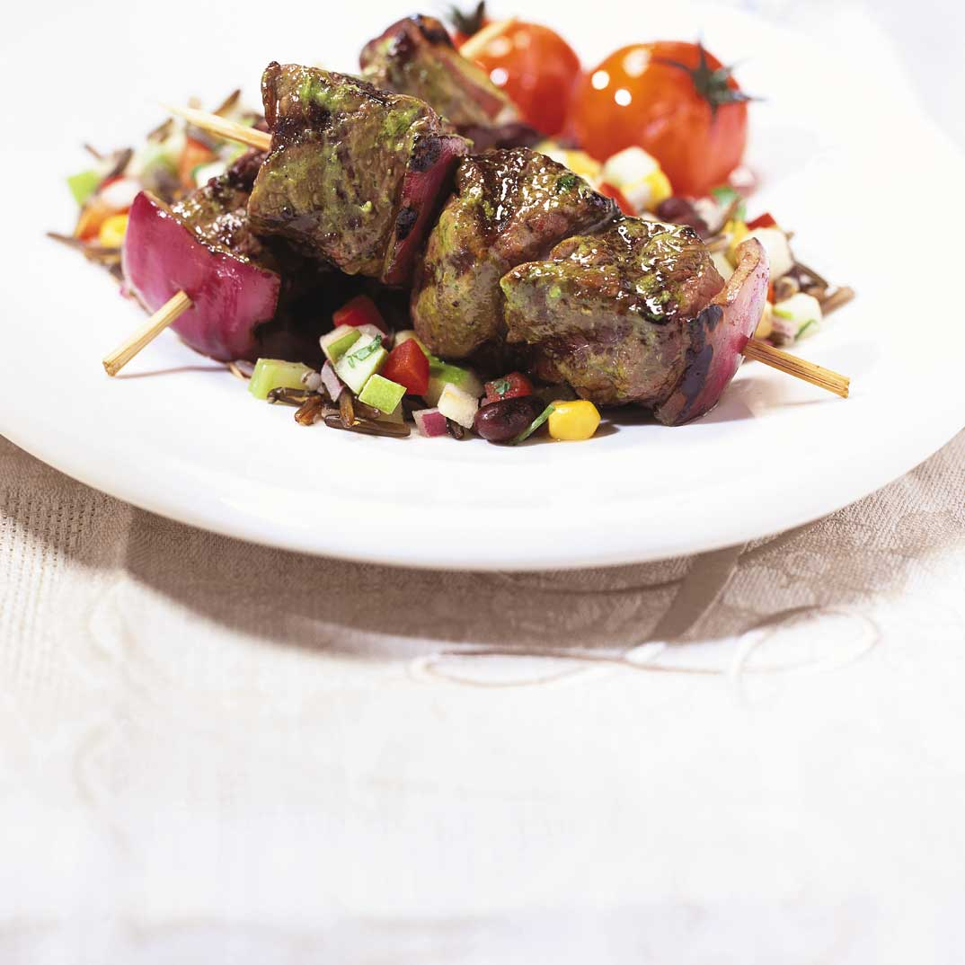 Ostrich Kebabs with Chimichurri Sauce