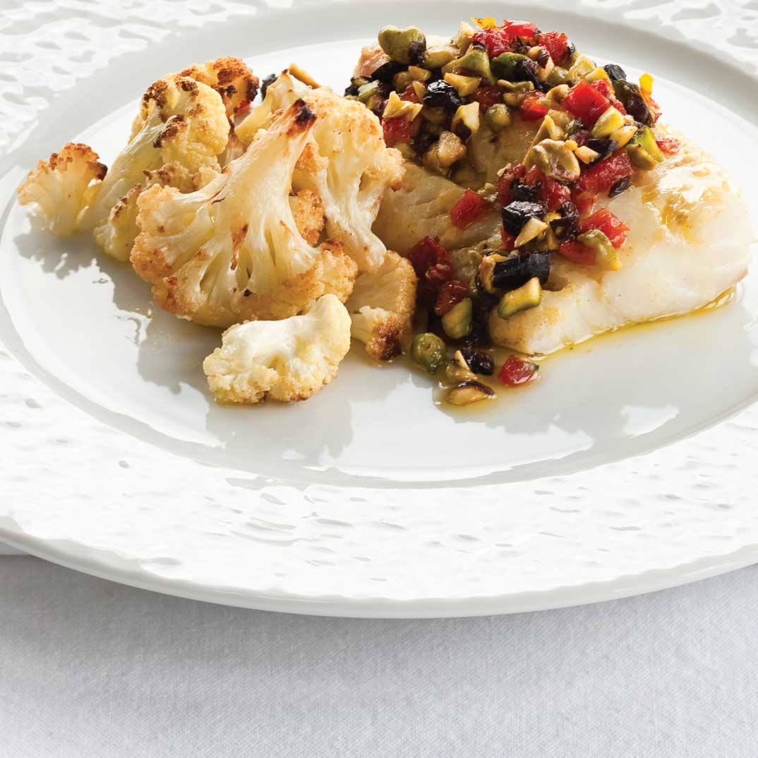 Pistachio and Sundried Tomato Fish Steaks with Roasted Cauliflower