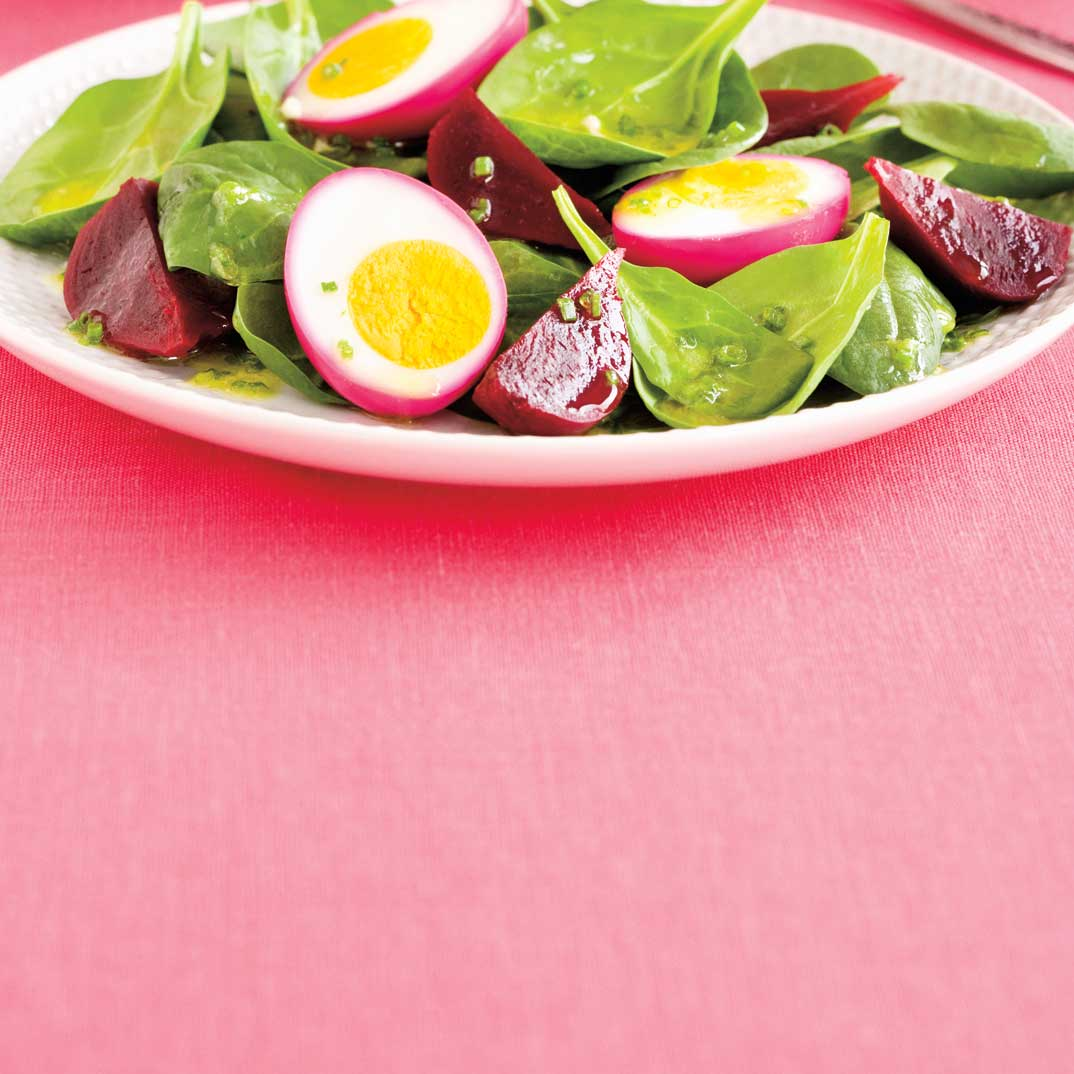 Spinach, Beet and Pickled Egg Salad