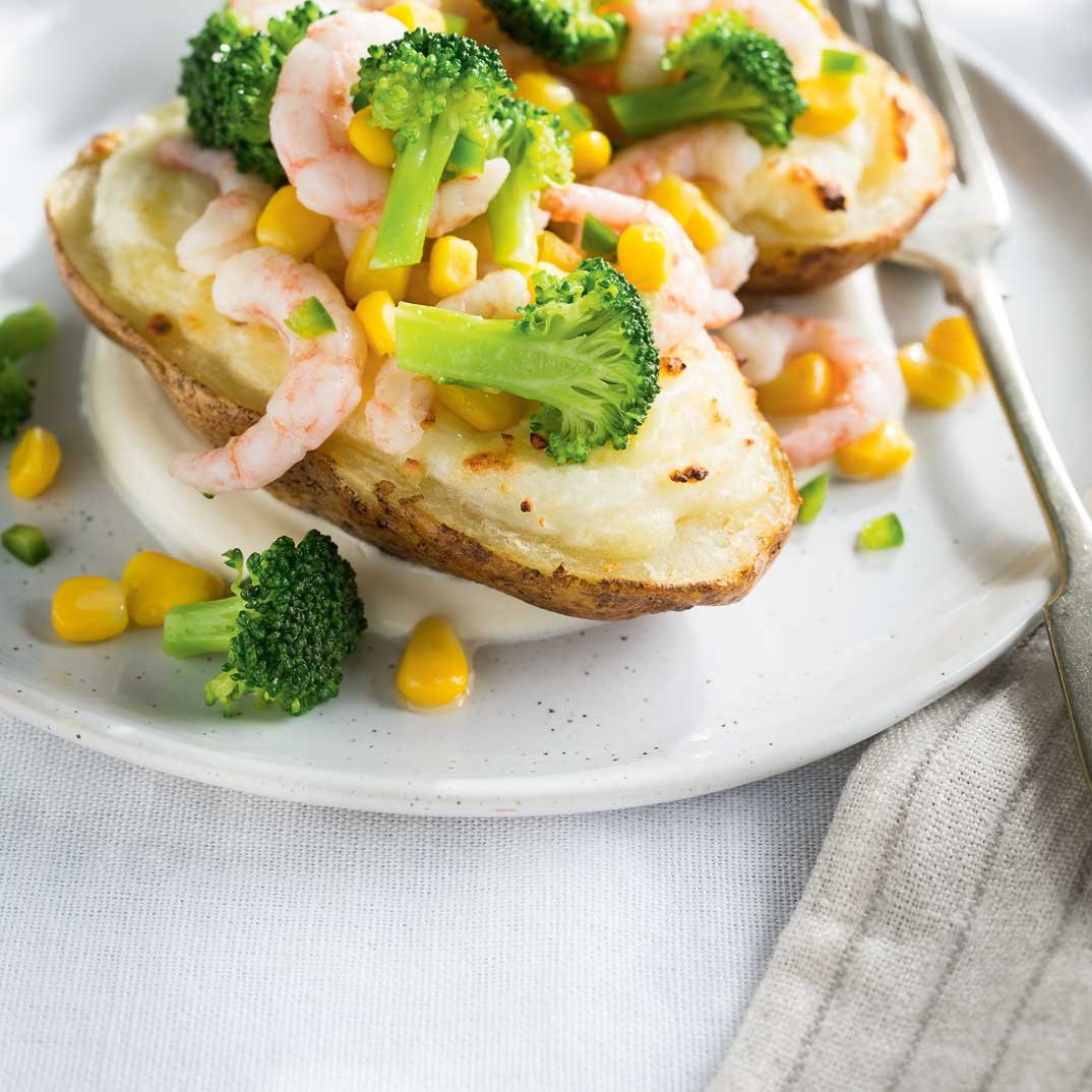Double Baked Potatoes with Broccoli, Corn and Shrimp