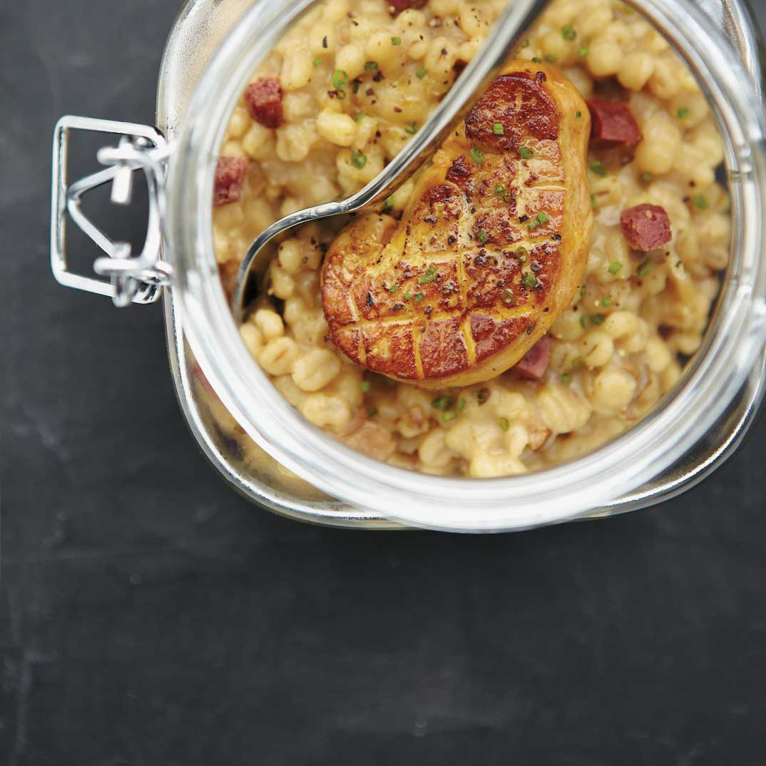 Barley Risotto with Porcini Mushrooms and Foie Gras Verrines