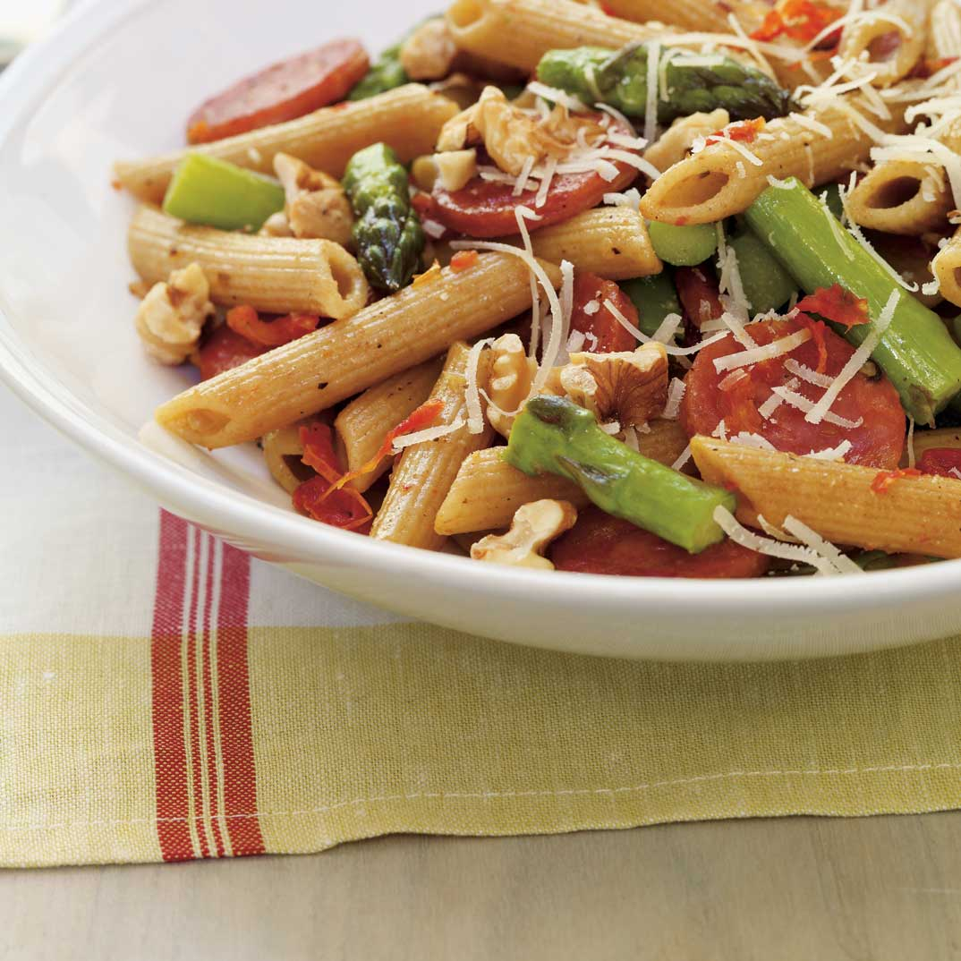 Whole Wheat Penne with Asparagus and Chorizo