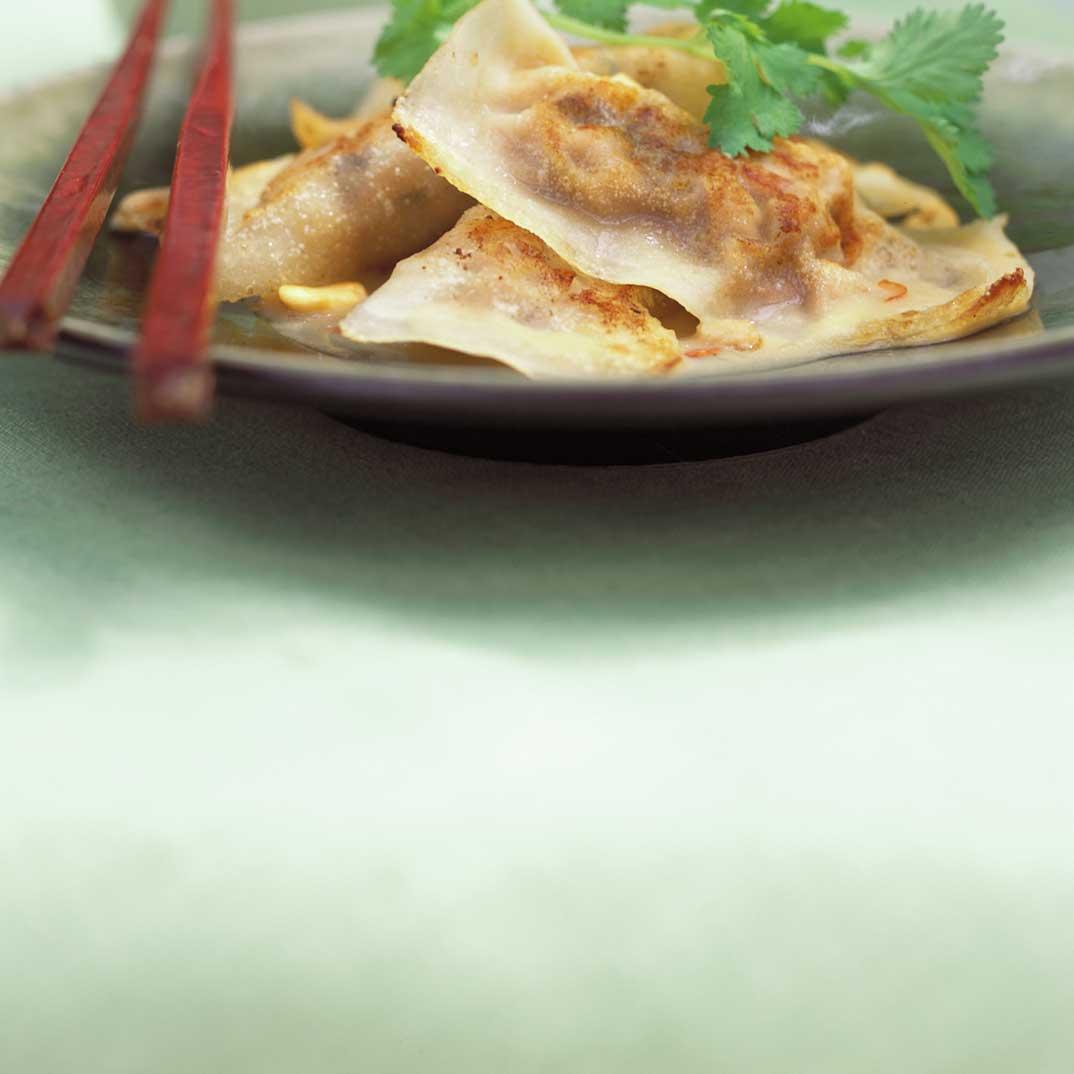 Seared Dumplings with Satay Sauce