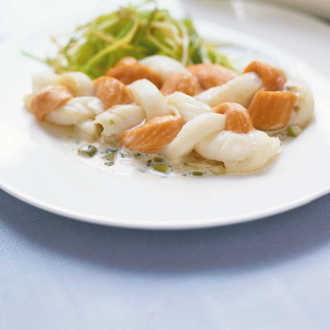 Fish Braid with Green Olive Sauce