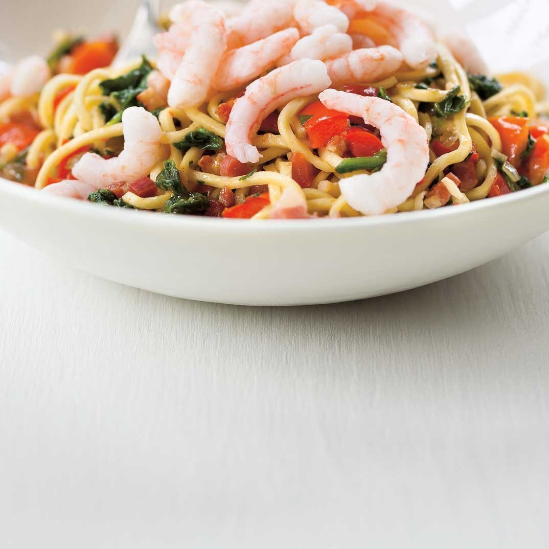 Bell Pepper and Nordic Shrimp Pasta
