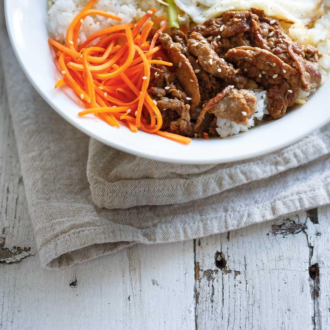 <i>Bibimbap</i> (Korean Rice, Vegetable, Egg and Beef Bowl)