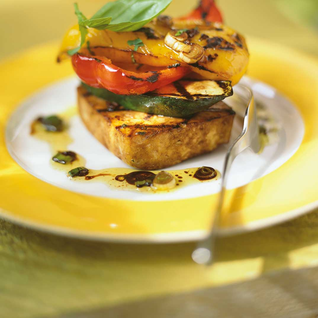 Mediterranean Vegetable and Tofu Stacks
