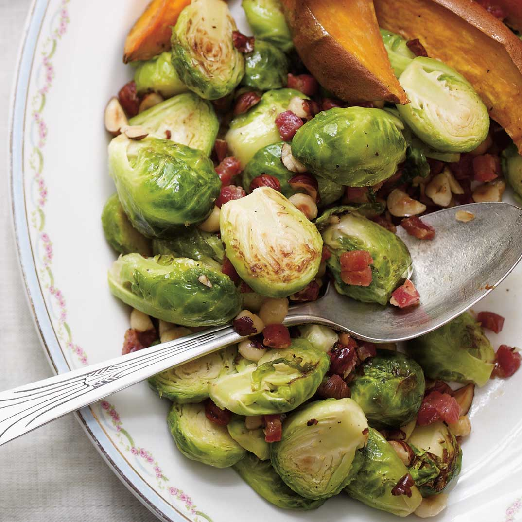 Sautéed Brussels Sprouts with Pancetta and Hazelnuts
