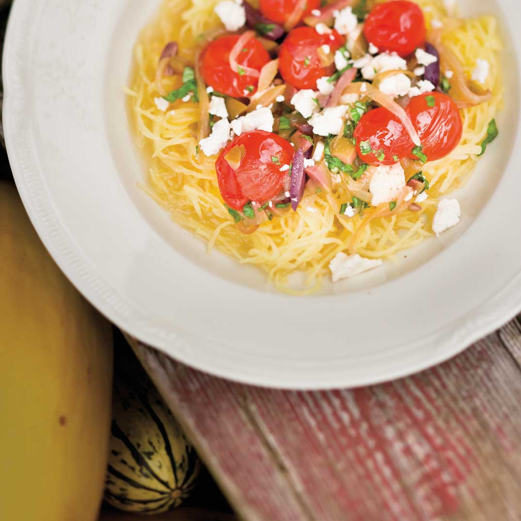 Spaghetti Squash with Onions, Tomatoes, and Olives