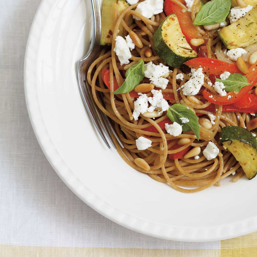 Whole Wheat Spaghetti with Grilled Vegetables and Feta Cheese