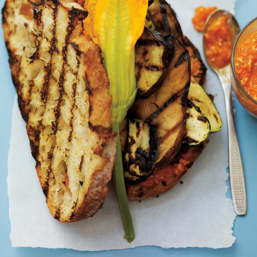 Grilled Vegetables and Zucchini Blossom Sandwich