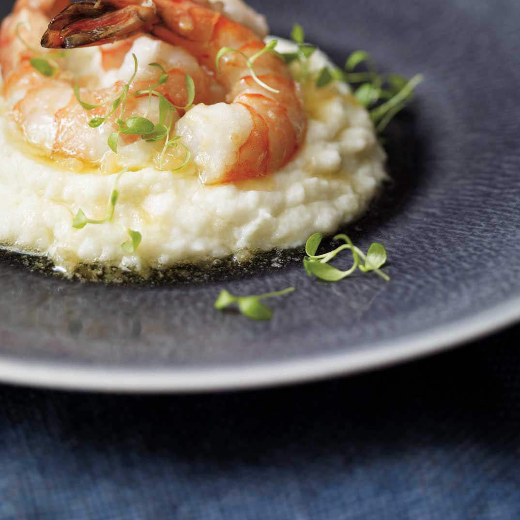 Shrimp with White Chocolate Sauce and Mashed Cauliflower