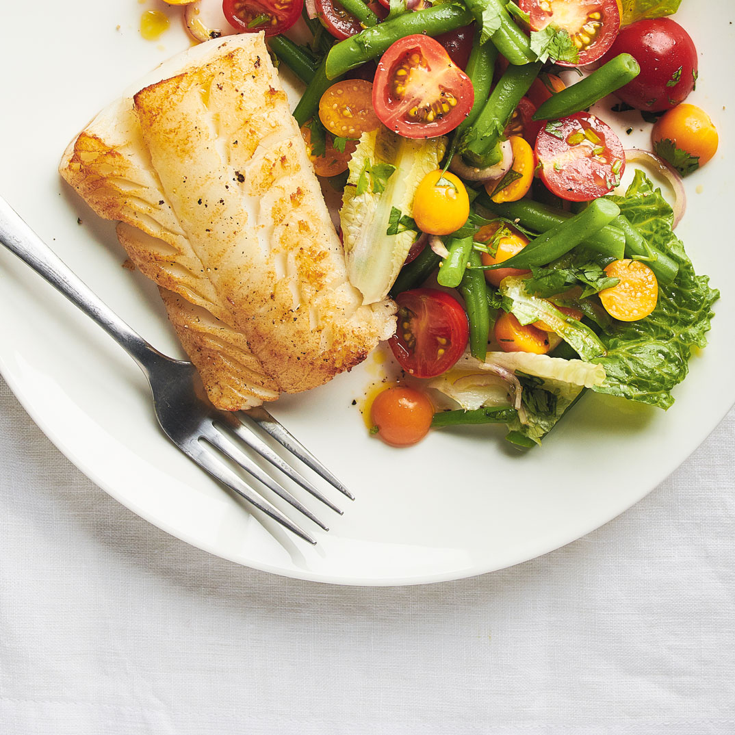 Vegetable and Ground Cherry Salad with Roasted Fish