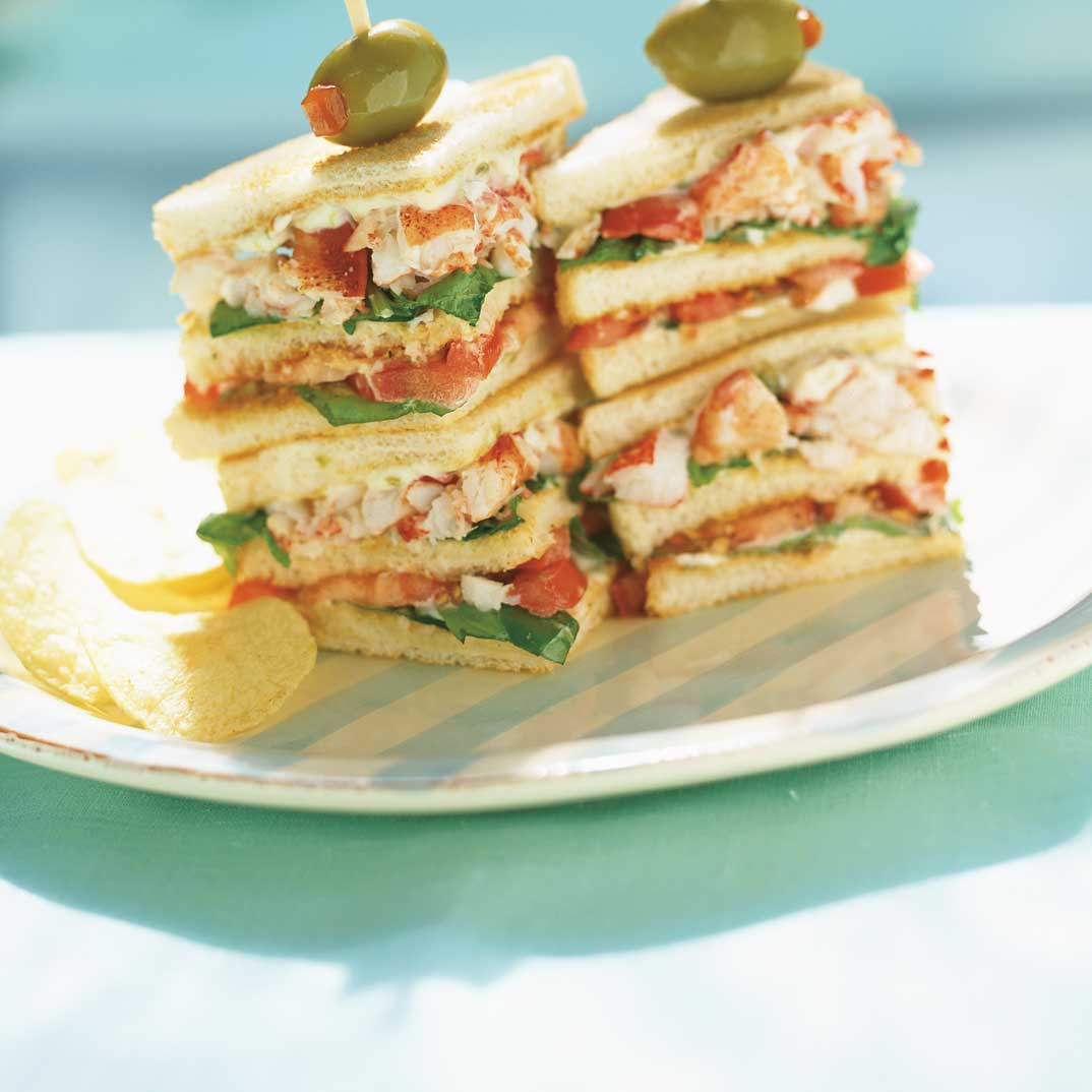 Lobster and Arugula Club Sandwich