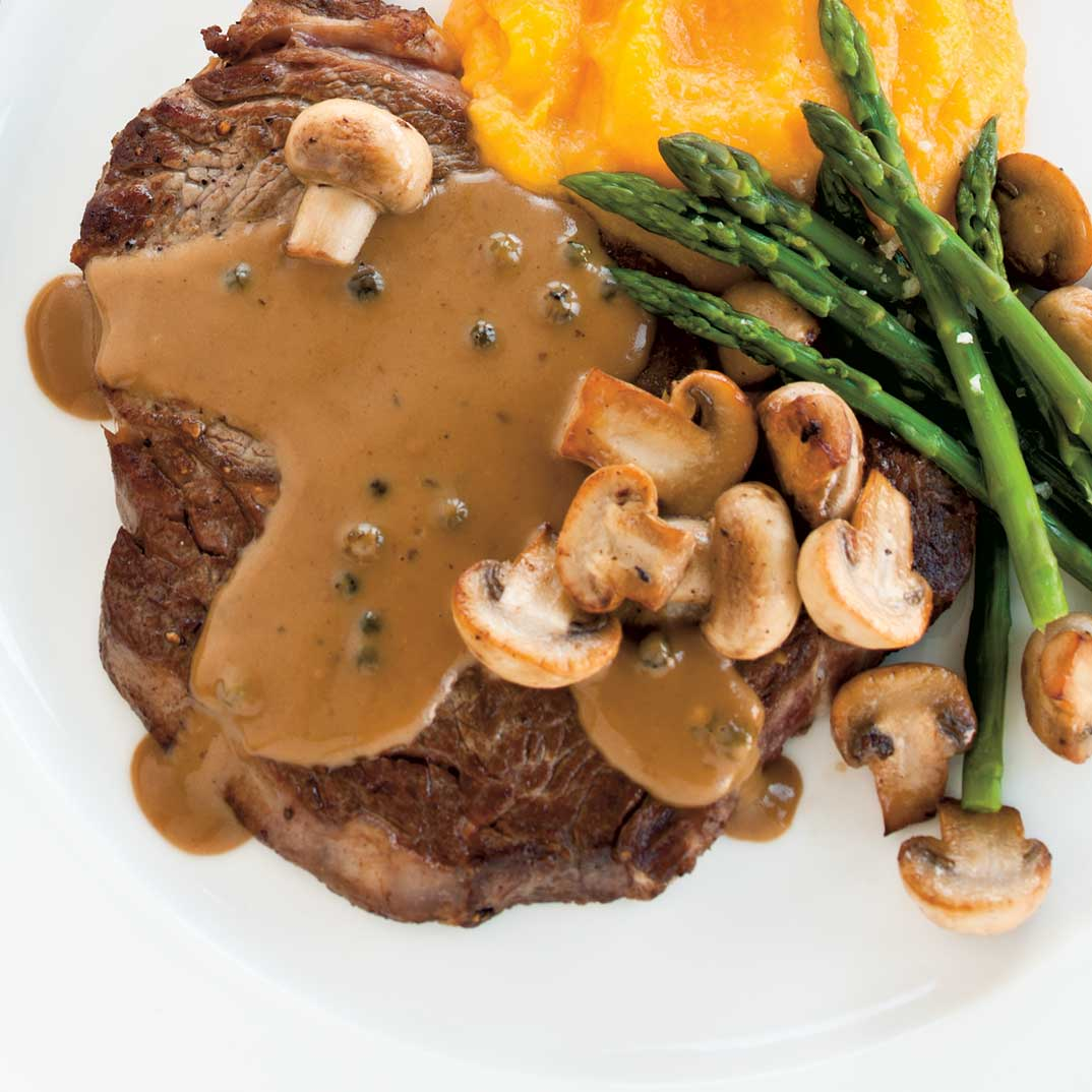 Steaks au poivre vert
