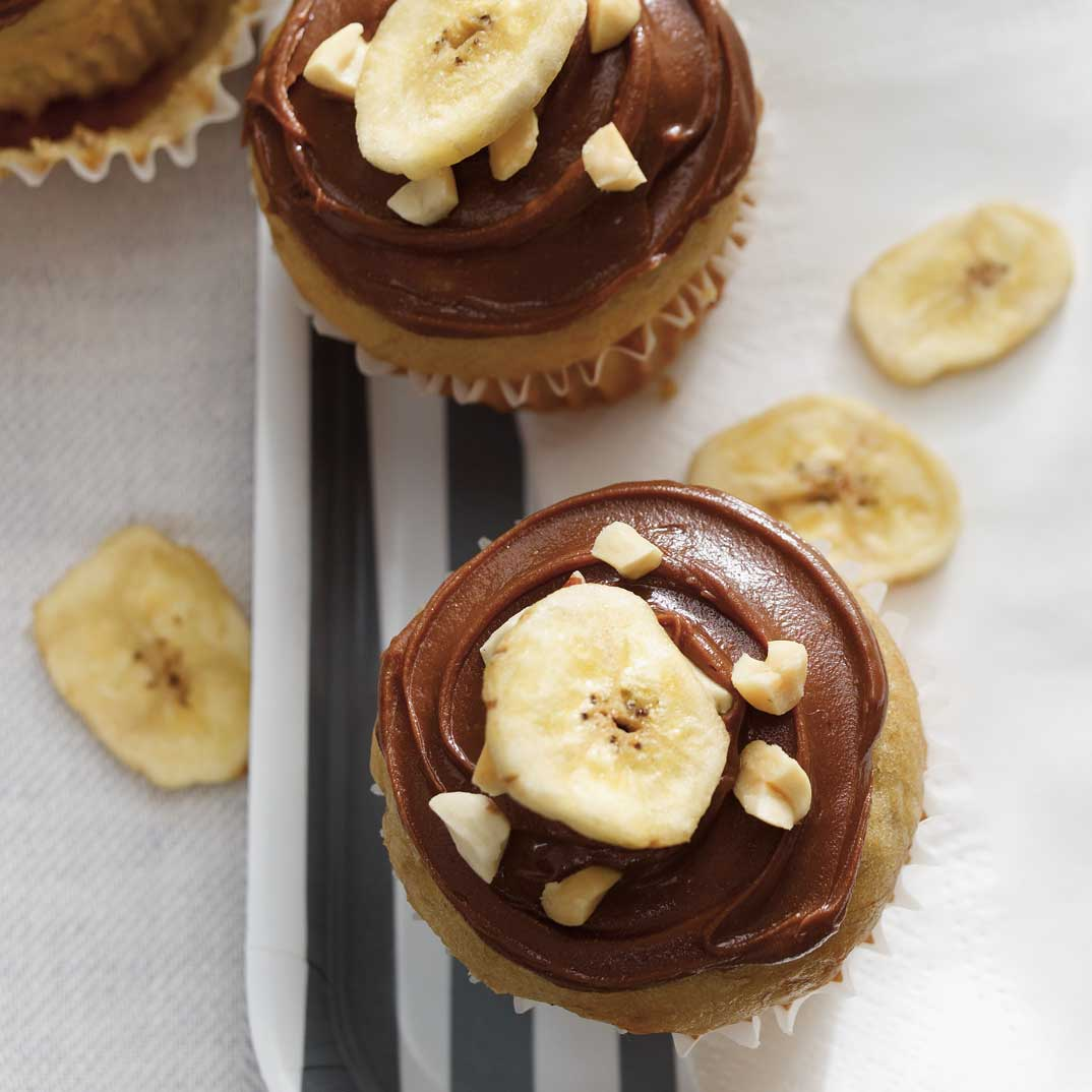 Banana Muffins with Chocolate-Peanut Frosting