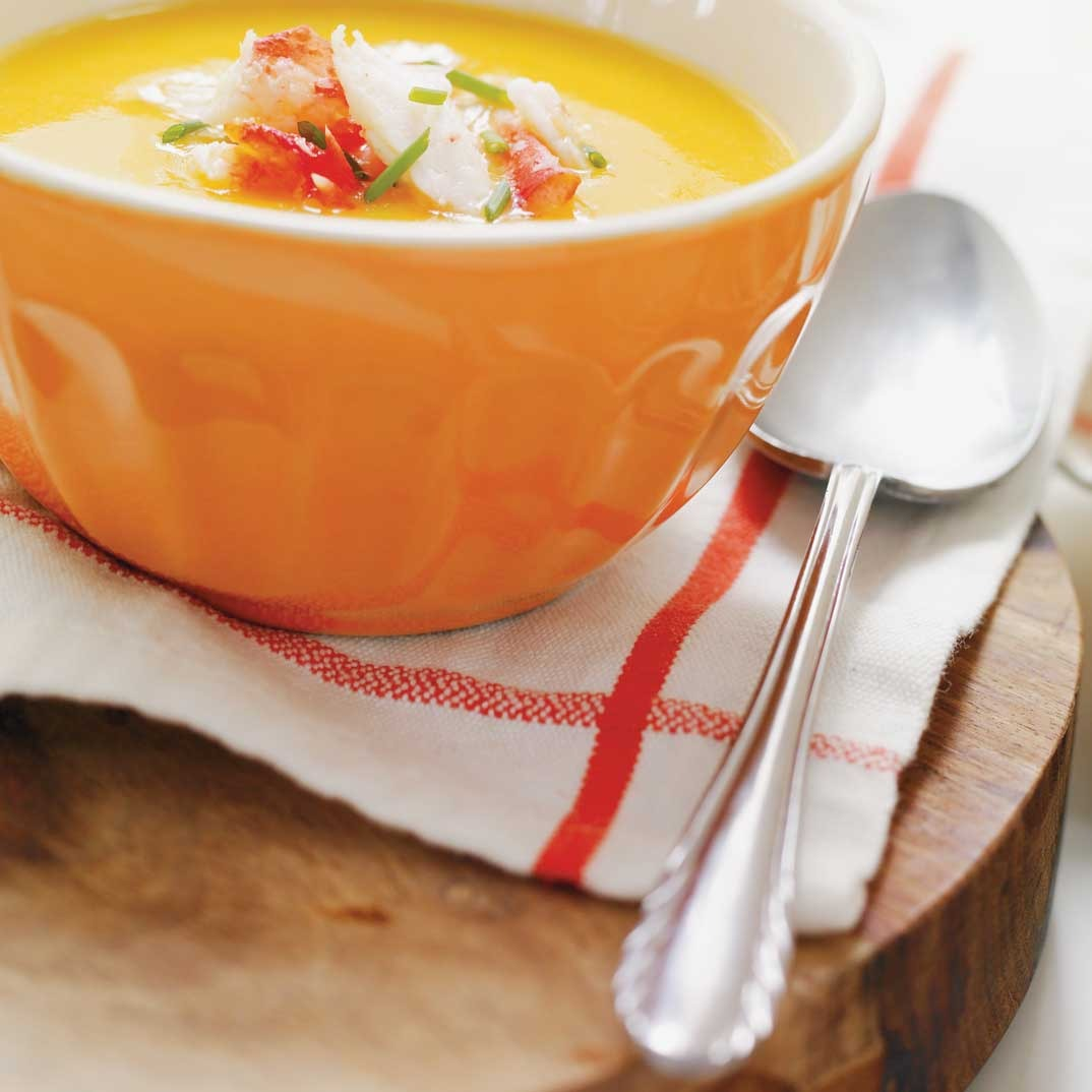 Cream of Bell Pepper Soup with Crab Topping