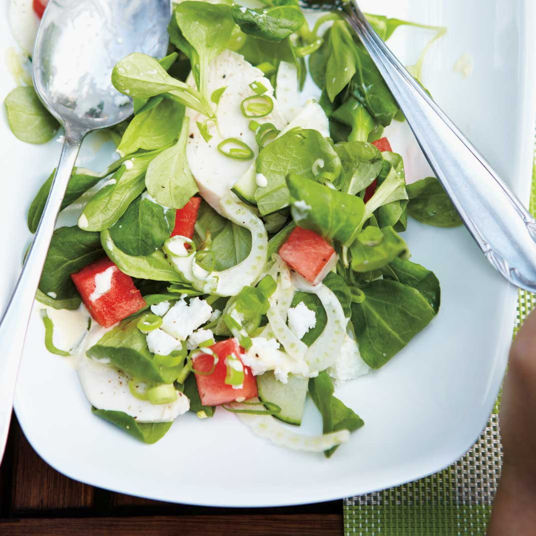 Chicken, Watermelon, Feta and Cucumber Salad