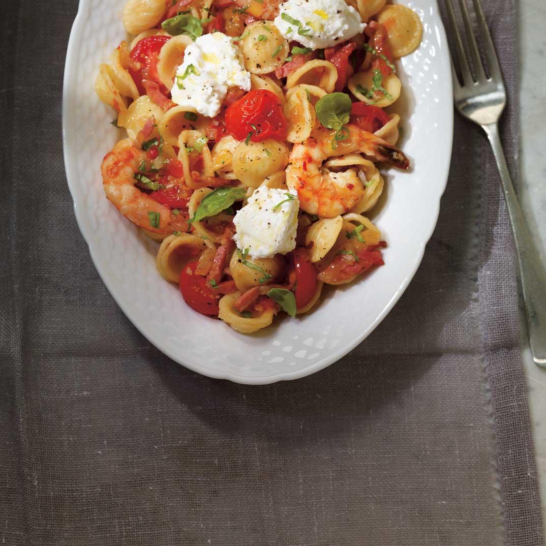 Fresh Tomato, Shrimp and Pancetta Orechetti