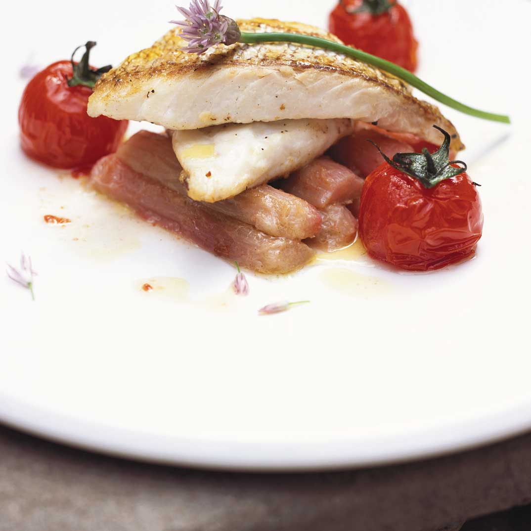 Rhubarb and Roasted Tomato Red Mullet