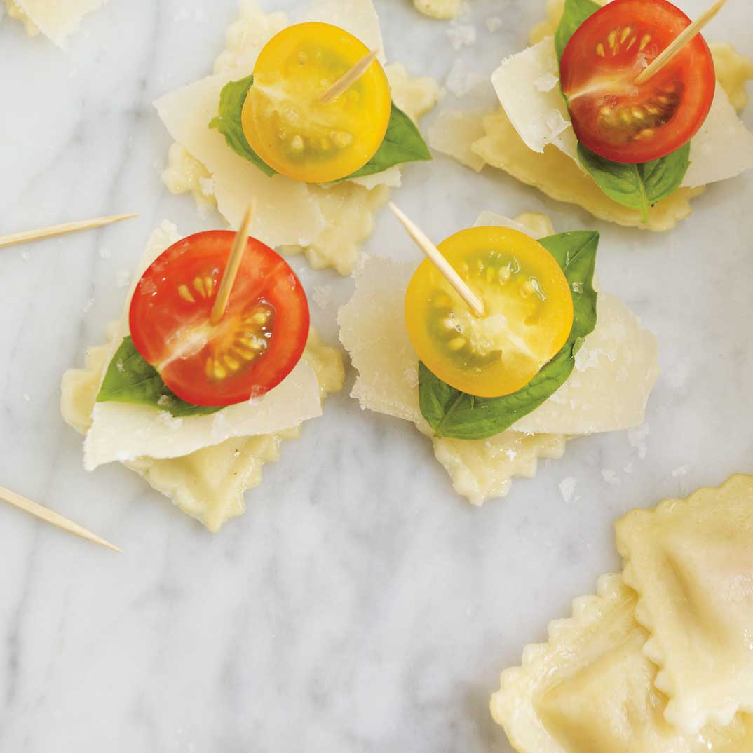Ravioli, Cherry Tomato, and Parmesan Skewers