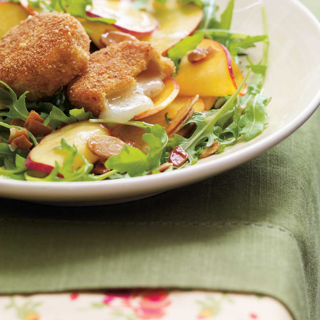 Crispy Goat Cheese Salad with Peaches and Caramelized Almonds