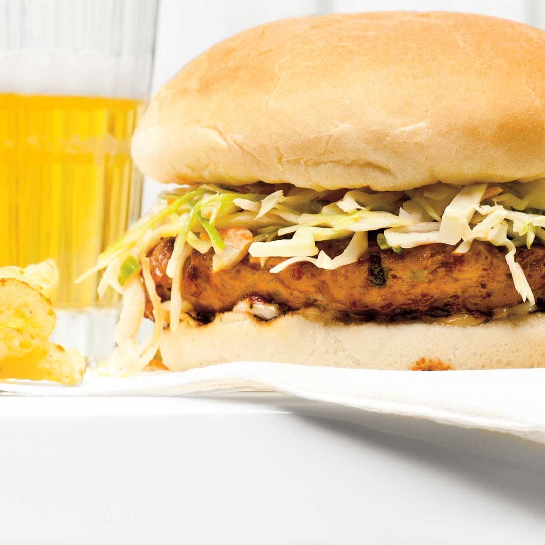 BBQ Pork Burgers with Coleslaw