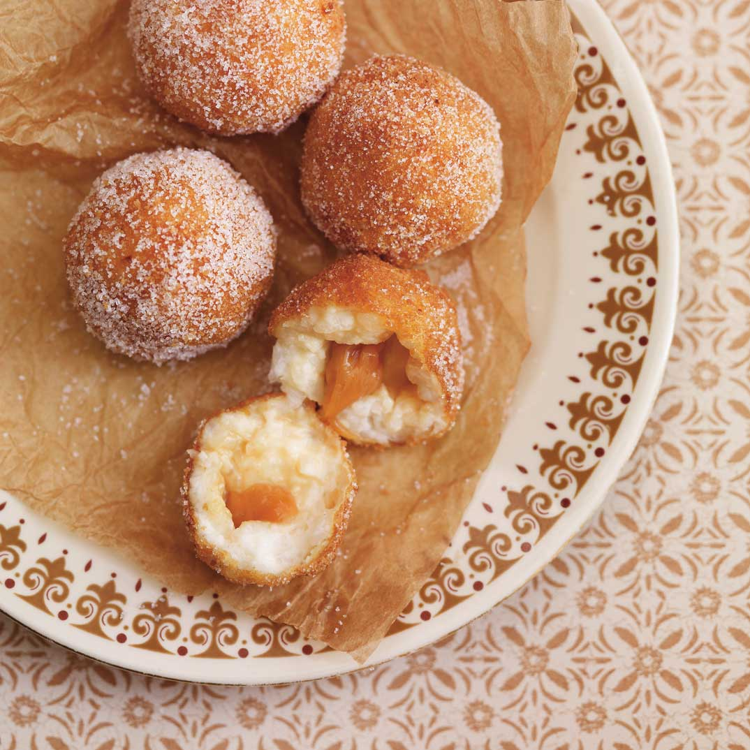 Fried Rice Pudding Balls with Caramel