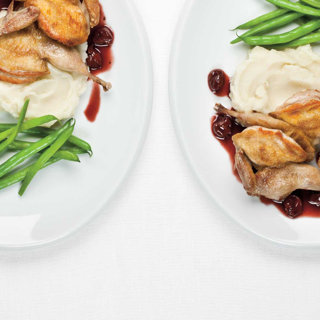 Roasted Quail with Cherry and Red Wine Sauce