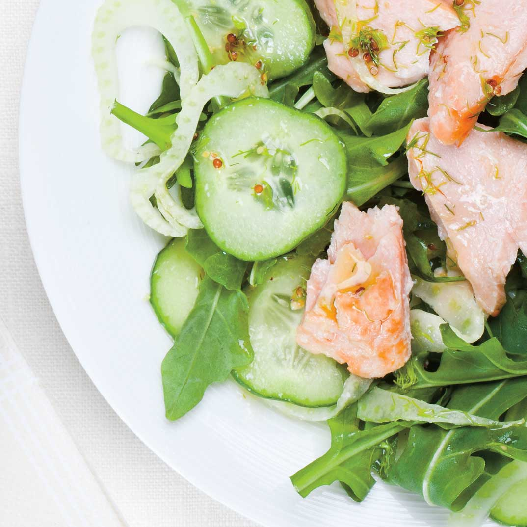 Cold Salmon with Dill Cucumber and Fennel Salad