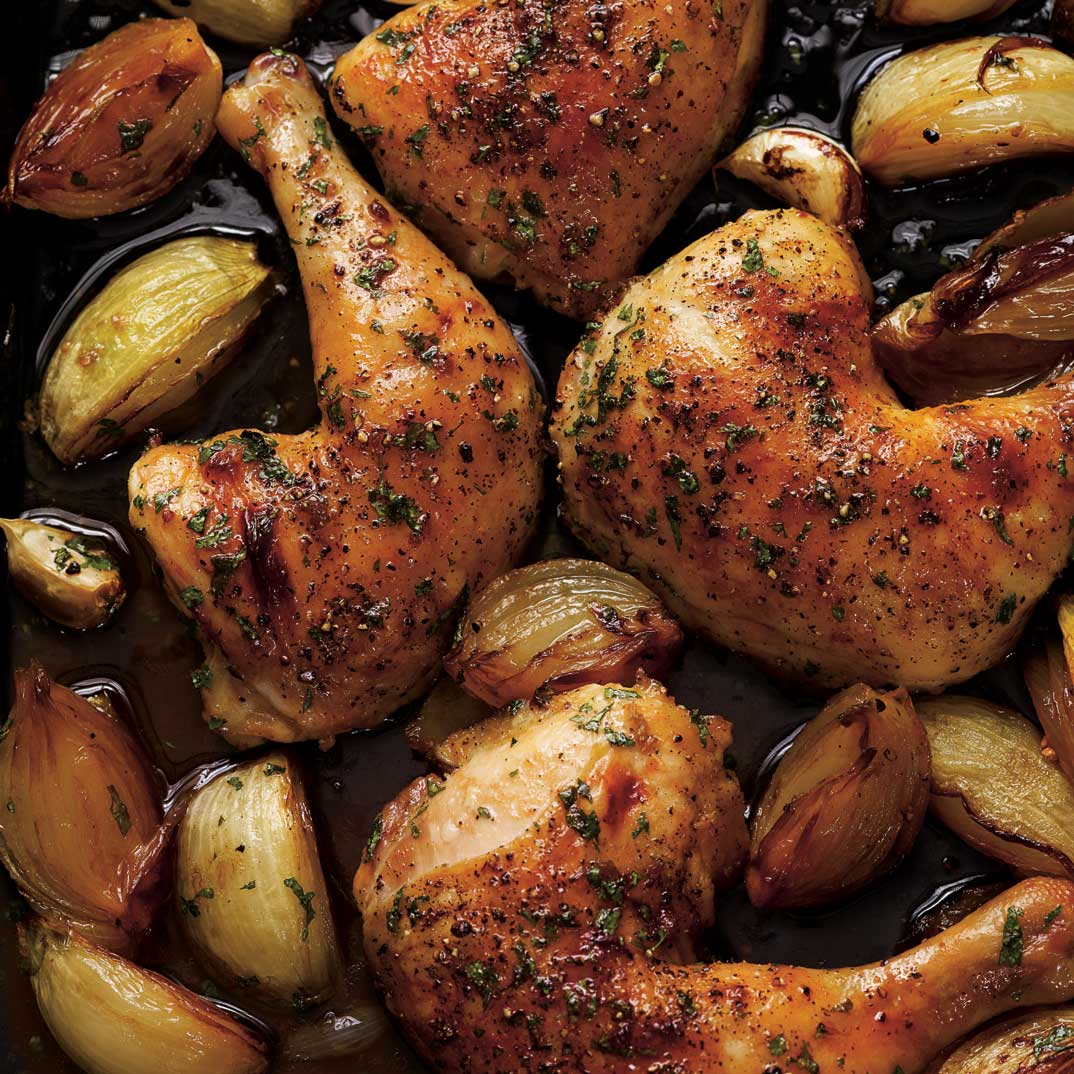 Roasted Chicken Legs with Onions