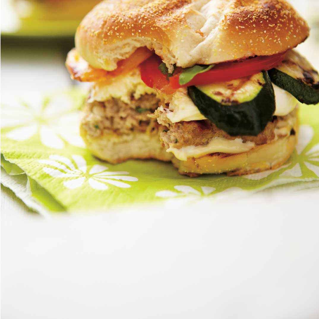 Veal Burgers with Fresh Mozzarella and Vegetables