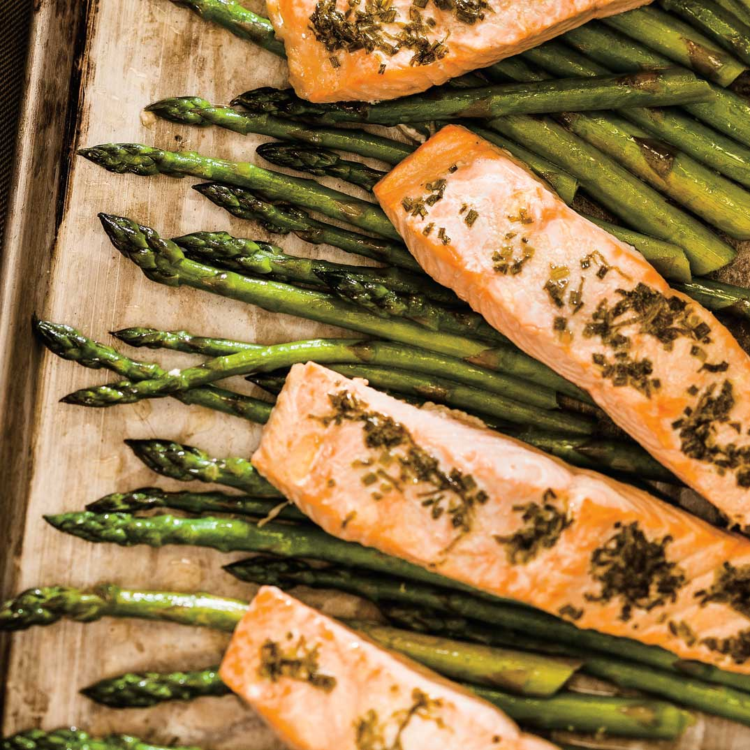 Baked Salmon and Asparagus with Herb Butter