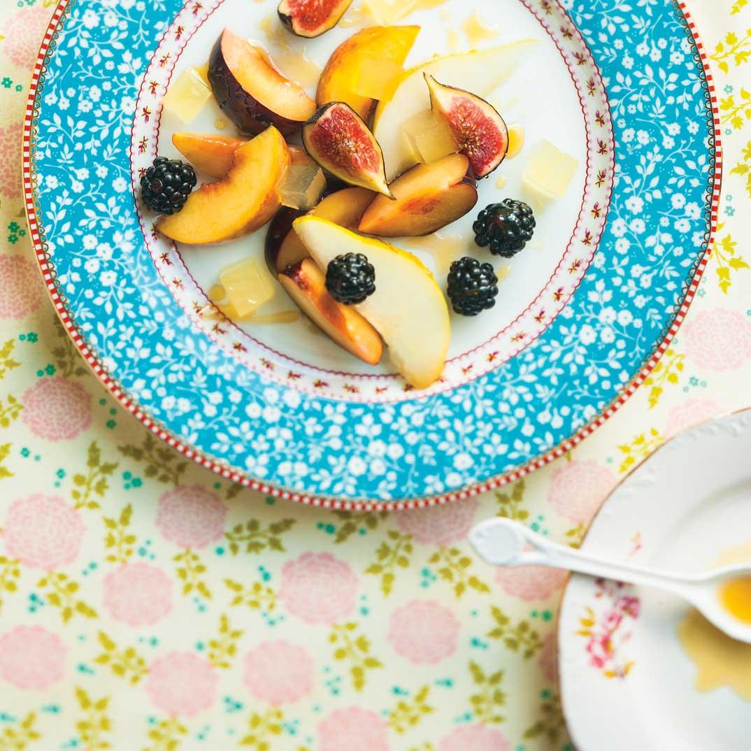 Salade de fruits et gelée au citron
