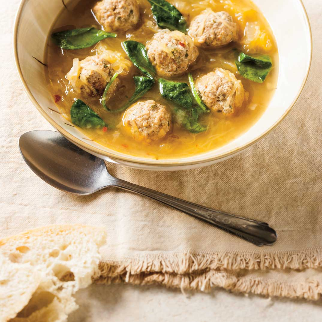 Meatball and Spaghetti Squash Soup