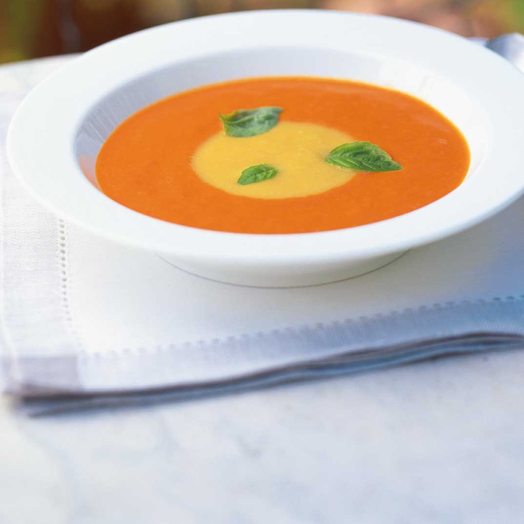 Two-Colour Cream of Roasted Bell Pepper Soup