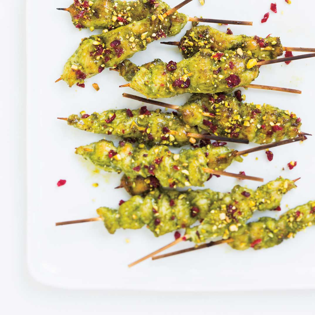 Mini Chicken Skewers with Pesto, Cranberries and Pistachios