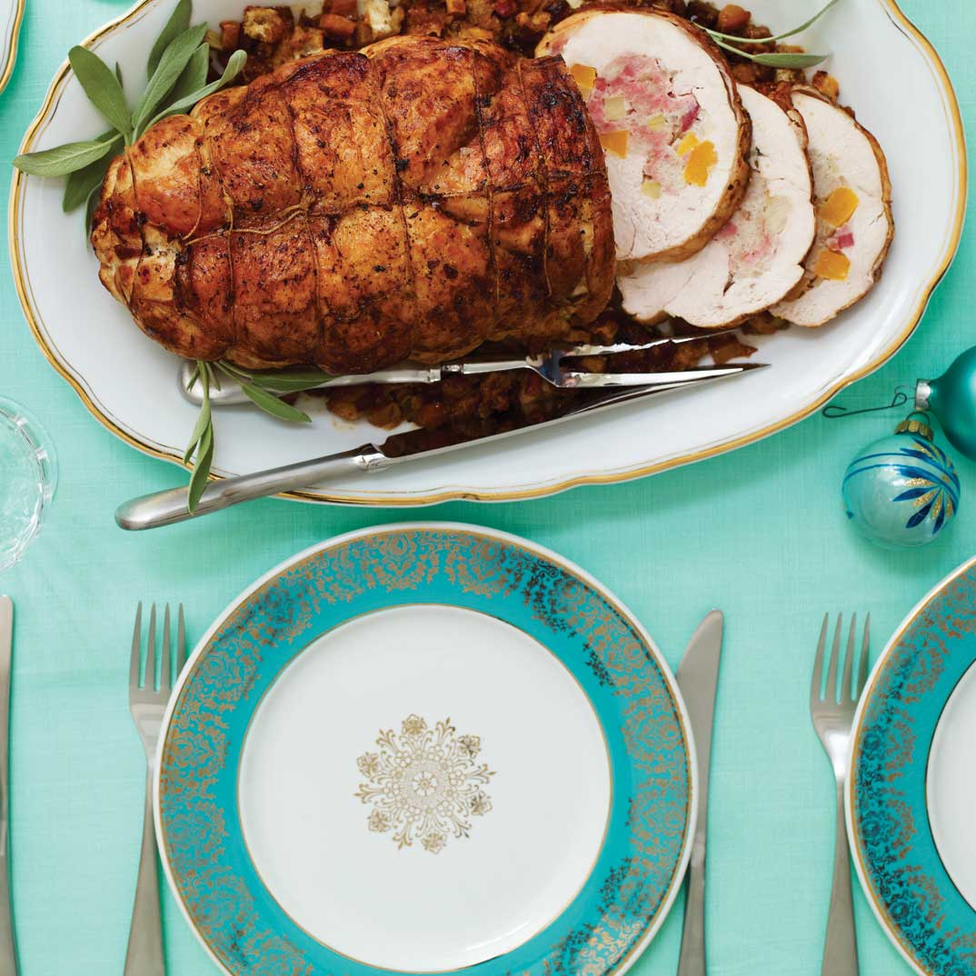 Turkey Roast with Apple and Squash Stuffing and Marsala Sauce