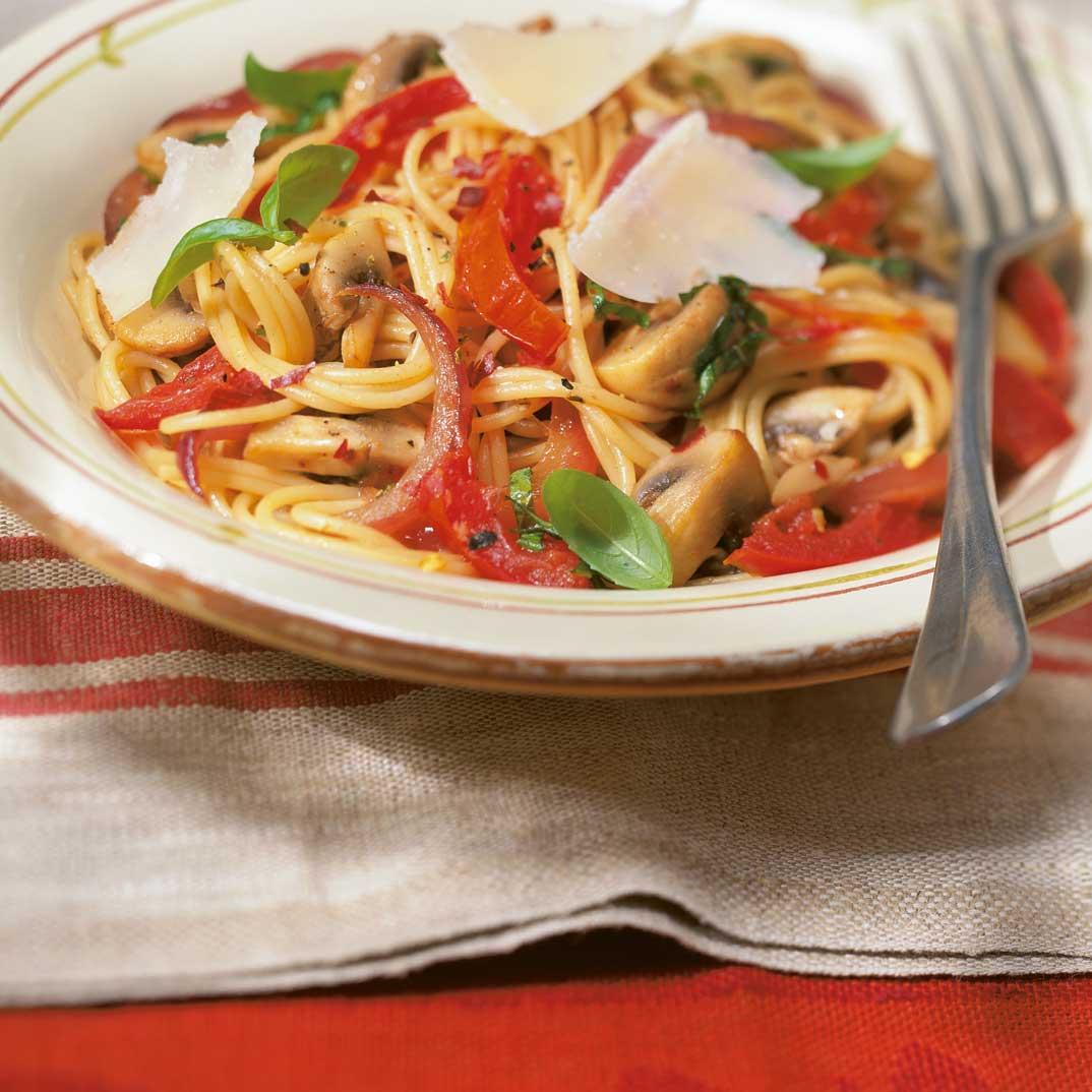 Spaghettinis aux tomates confites