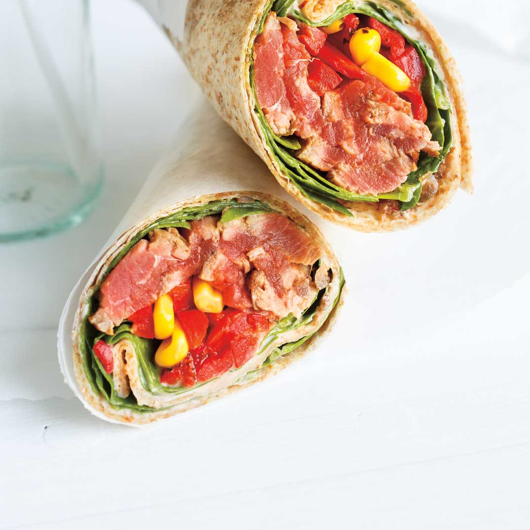 Roasted Bell Pepper and Beef Wrap