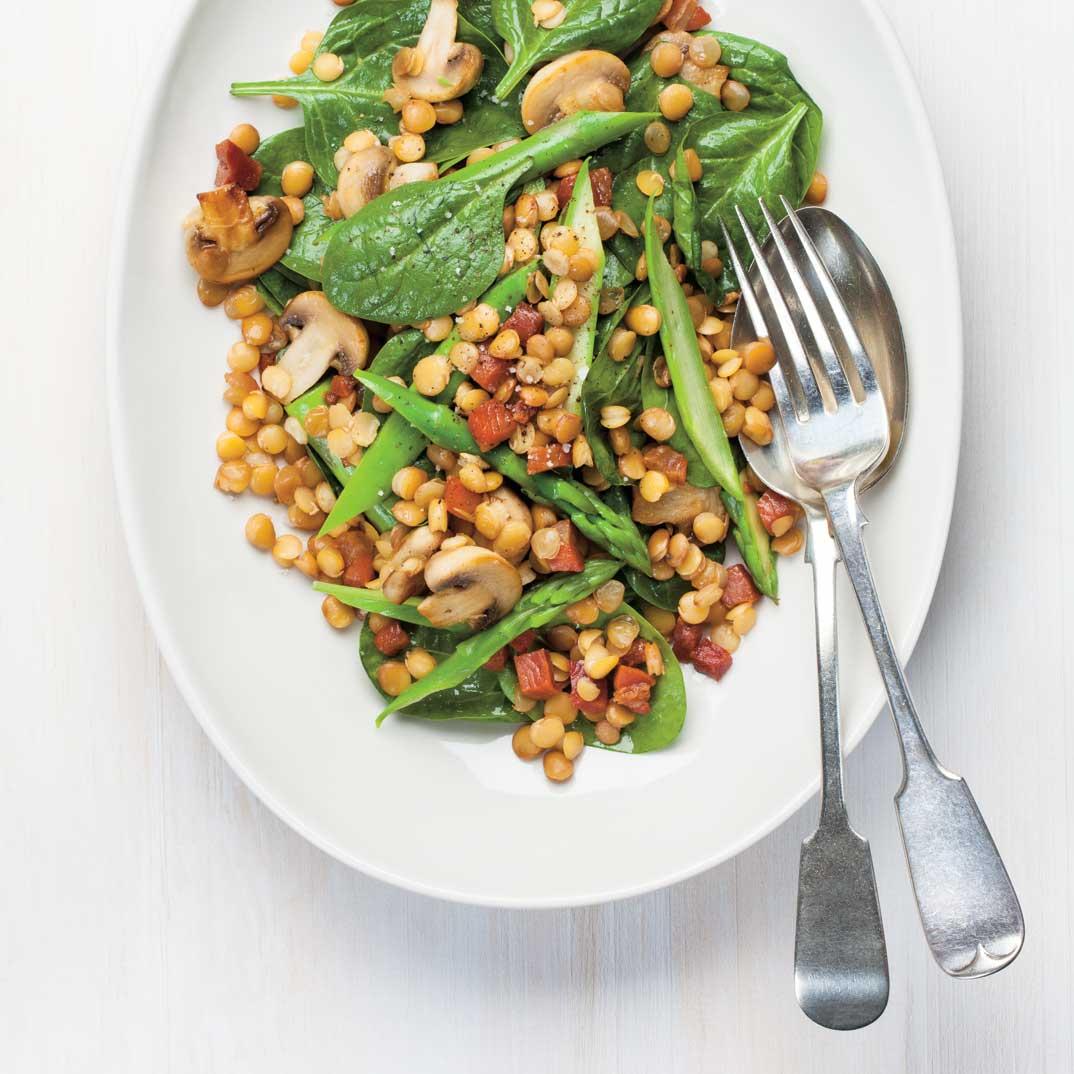Spinach, Lentil and Asparagus Salad