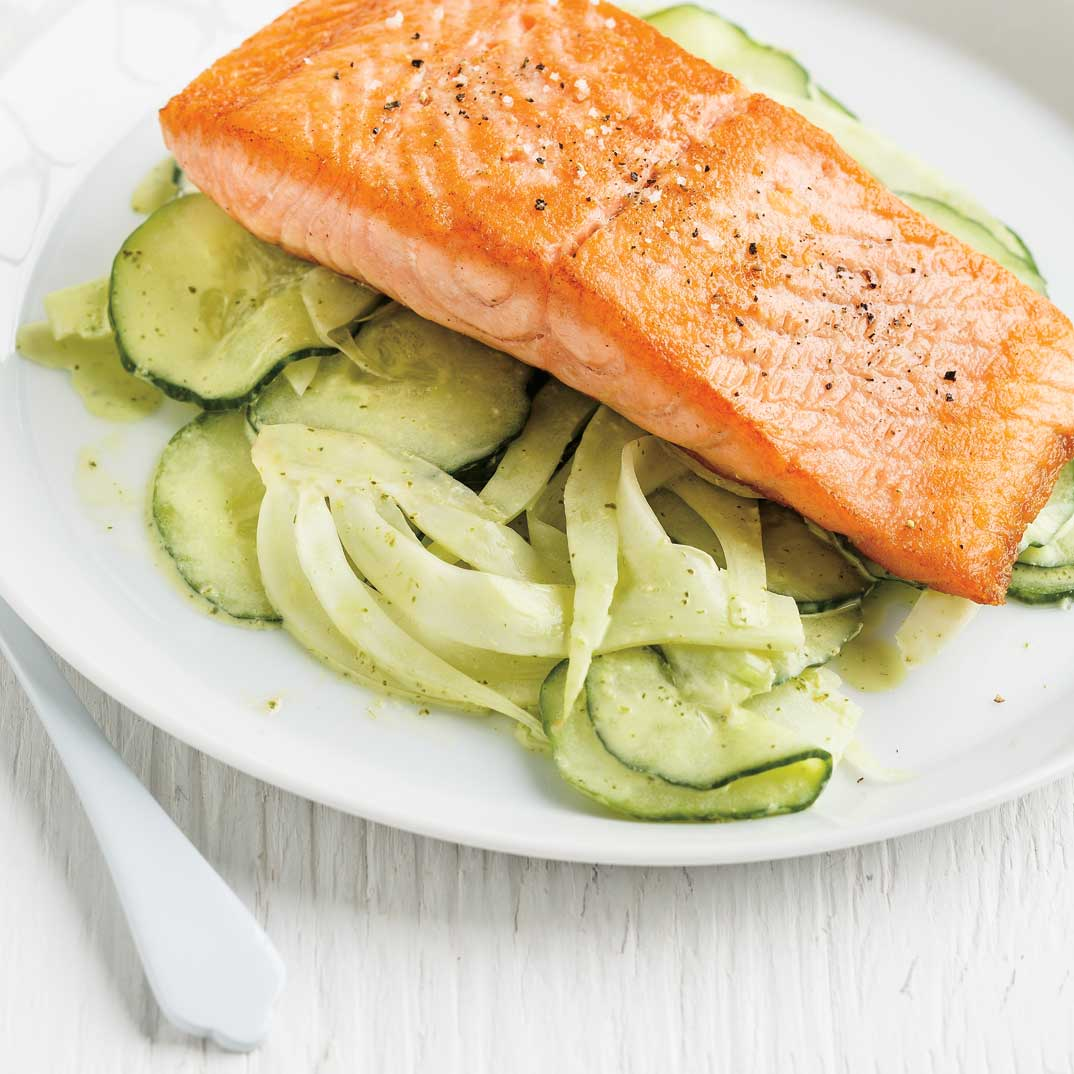 Grilled Salmon with Cucumber and Fennel Salad
