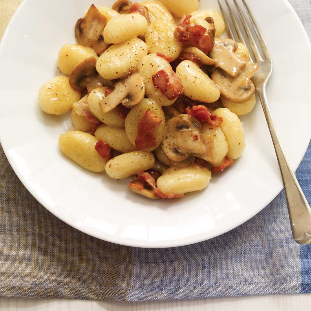 Creamy Cheese Gnocchi with Mushrooms and Bacon