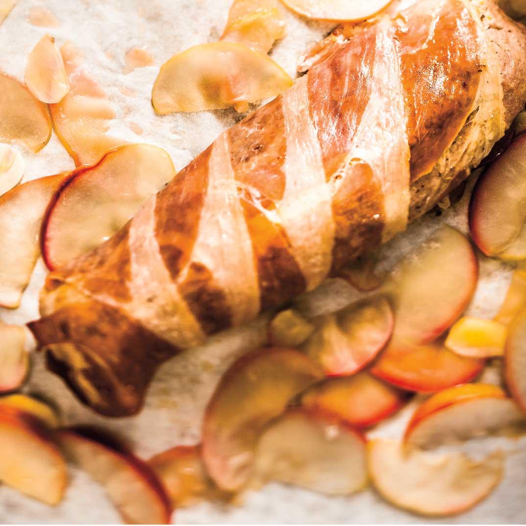 Filets de porc, prosciutto et pommes