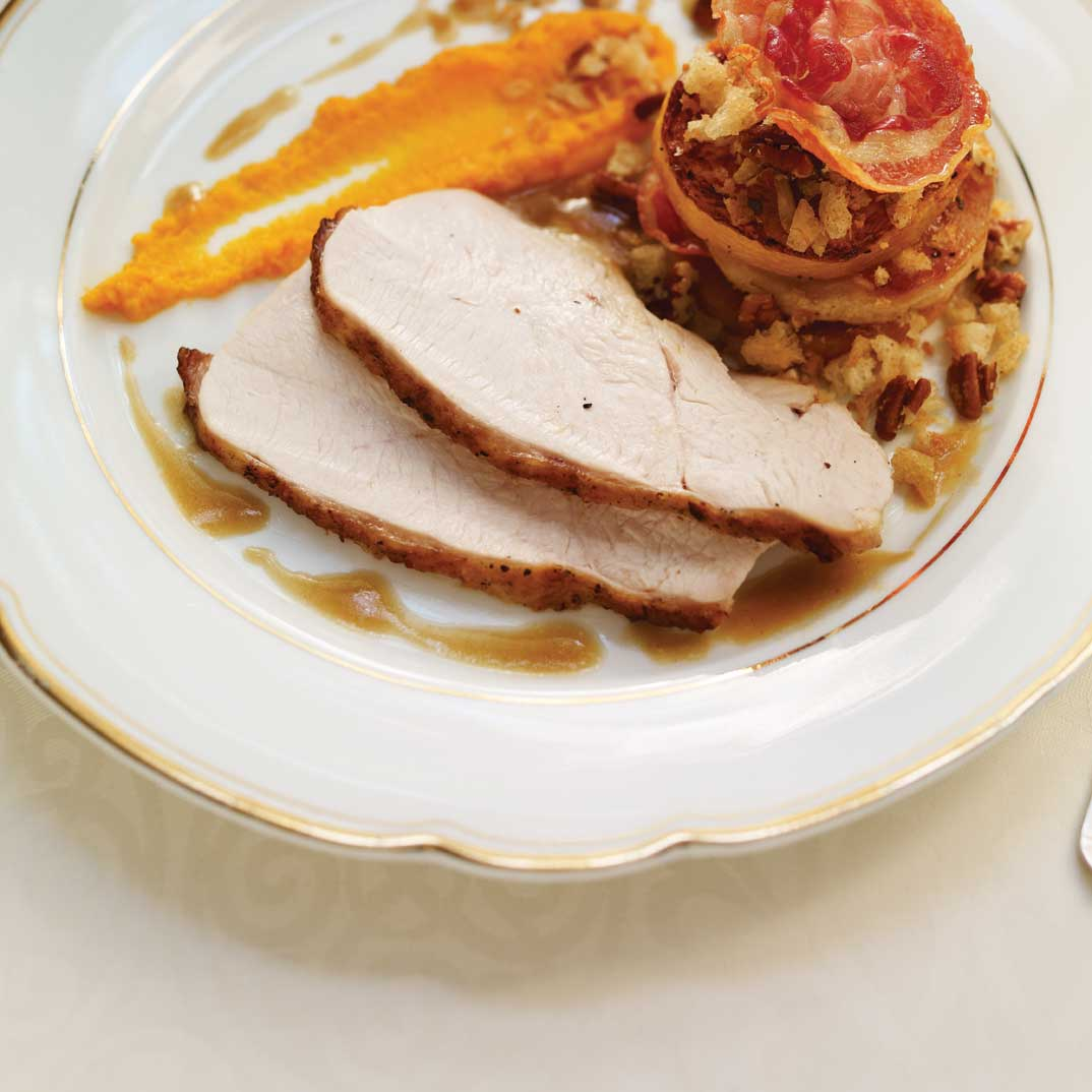 Roasted Turkey Breast with Apples, Pumpkin and Marsala Sauce