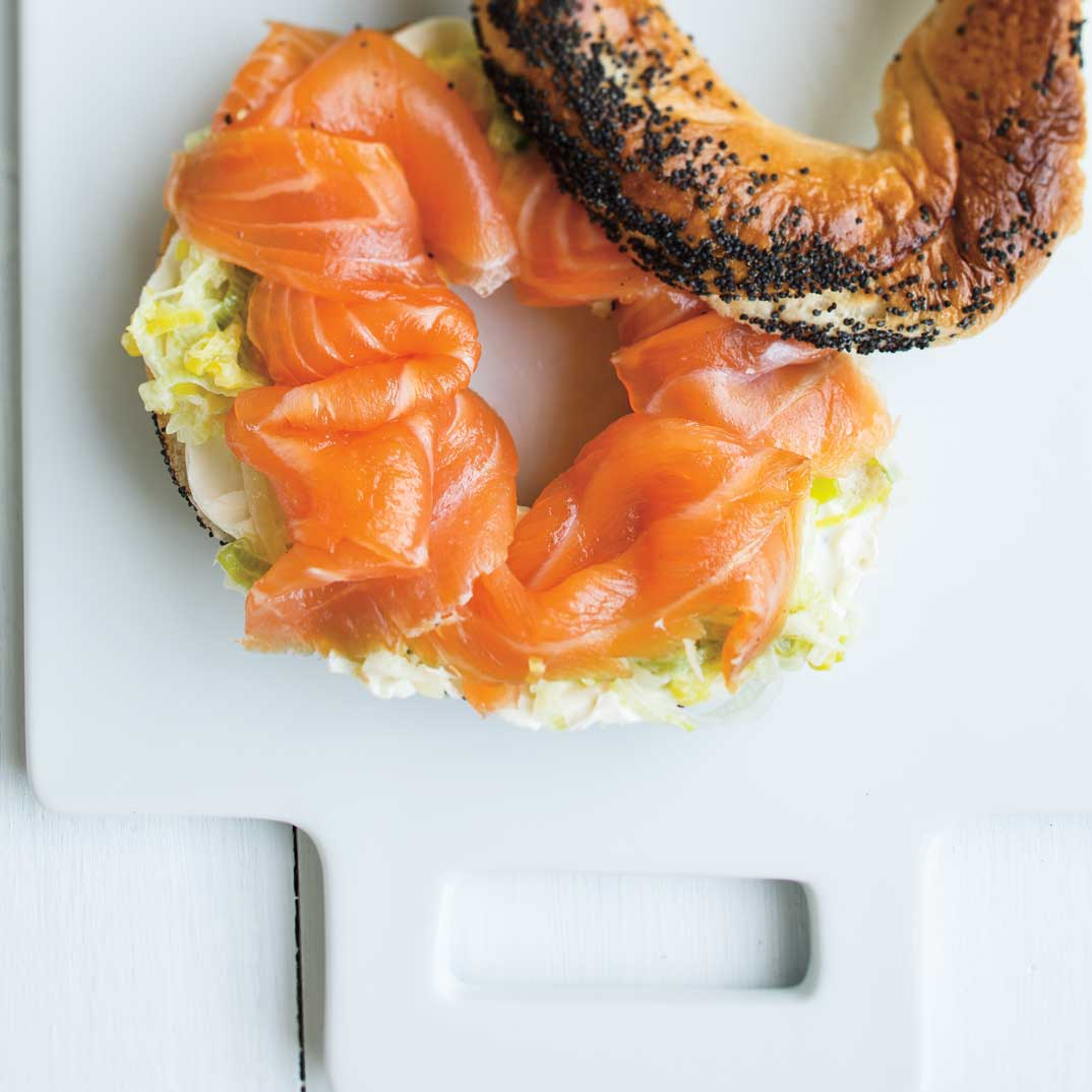 Smoked Salmon and Wilted Leek Bagels