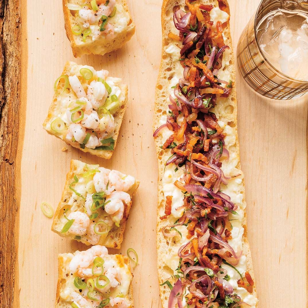 Cheese-Stuffed Baguette Bread (Bacon and Shrimp)